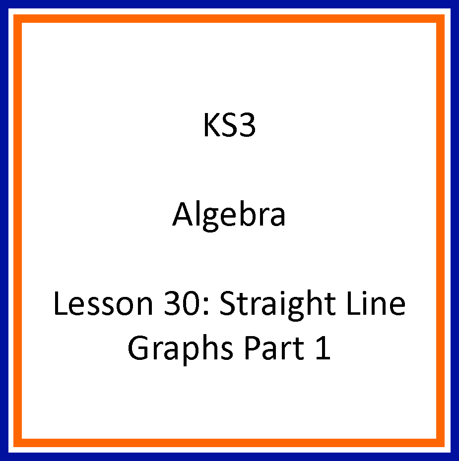 Lesson 30 Straight Line Graphs Part 1 Mikes Maths